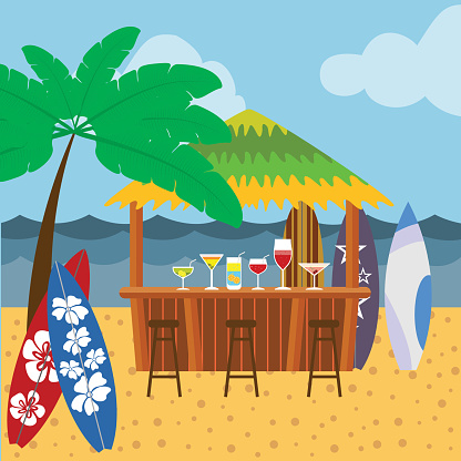 Background with cocktail bar, tree, surf boards, beach, sea and sky.
